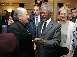 File Photo - Joseph S. Blatter, President of the Federation Internationale of Football Association (FIFA) and Kofi Annan, United Nations General Secretary, and his wife Nane talk to each other during the session 'The impact of sports in the World' at the Annual Meeting 2006 of the World Economic Forum in Davos, Switzerland, on January 25, 2006. Pool photo by Thomas Studhalter/World Economic Forum/ABACAPRESS.COM