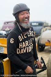 Atsushi Yasui of Tokyo, Japan in the pits at TROG West - The Race of Gentlemen. Pismo Beach, CA, USA. Saturday October 15, 2016. Photography ©2016 Michael Lichter.