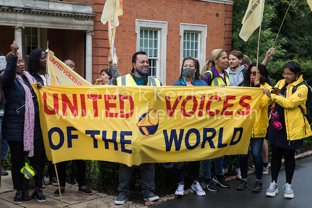 Royal Parks workers outsourced via French multinational VINCI Facilities attend a picket outside the Old Police House in Hyde Park as part of joint strike action by the United Voices of the World (UVW) and Public and Commercial Services (PCS) trade unions on 30th July 2021 in London, United Kingdom. The joint strike, with members dual carding over pay, conditions and the sacking of a member of staff, is believed to be the first between a TUC and a non-TUC trade union and follows the launch of a legal challenge by the Royal Parks workers against indirect racial discrimination by the Royal Parks.