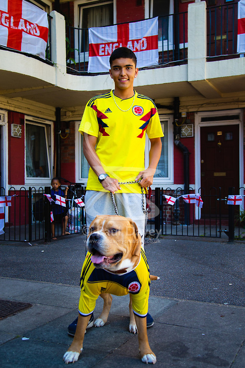 Outnumbered but hoping for victory, a Colombian family and their dog Troy are pictured on the Kirby Estate in Southwark where local residents have put on a huge display of support for England in the World Cup. PICTURED: Son Jean-Paul Jhonnes, 19,  and their dog, an American Boxer, Troy. London, July 02 2018.