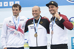 RIO DE JANEIRO, Sept. 29, 2018  Franz Anton (C) of Germany, Ryan Westley (L) of Great Britain and Sideris Tasiadis of Germany pose for photograph during the awarding ceremony of the men's canoe (C1) final at the 2018 ICF Canoe Slalom world championships in Rio de Janeiro, Brazil, on September 29, 2018. Franz Anton won the gold with 97.06 seconds. Ryan Westley and Sideris Tasiadis won the silver and the bronze with 97.94 seconds and 98.87 seconds respectively. (Credit Image: © Li Ming/Xinhua via ZUMA Wire)