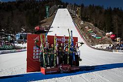 Karl Geiger (GER), Constantin Schmid (GER), Richard Freitag (GER), Markus Eisenbichler (GER), Anze Semenic (SLO), Peter Prevc (SLO), Domen Prevc (SLO), Timi Zajc (SLO), Kamil Stoch (POL), Jakub Wolny (POL), Dawid Kubacki (POL), Piotr Zyla (POL) celebrate Ski Flying Hill Team Competition at Day 3 of FIS Ski Jumping World Cup Final 2019, on March 23, 2019 in Planica, Slovenia. Photo by Peter Podobnik / Sportida