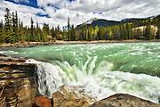 Athabasca River  at Athabasca Falls<br /> Jasper National Park<br /> Alberta<br /> Canada