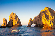 El Arco de Cabo San Lucas, or Lands End, is a distinctive rock formation at the southern tip of Cabo San Lucas, which is itself the extreme southern end of Mexico's Baja California Peninsula. The arch is locally known as El Arco in the town of Cabo San Lucas. It is here that the Pacific Ocean meets the Sea of Cortez. This spot is a popular gathering area for sea lions.