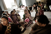 Christian refugees from Kandmahal district during the prayer at Peyton sahi relief comittee in Orissa's capital Bhubaneswar. Nov. 03, 2008.