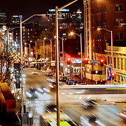 City streets and traffic motion at 39th and Main Streets, Kansas City, Missouri. Taken from the roof of the old Katz building at Westport Road and Main.