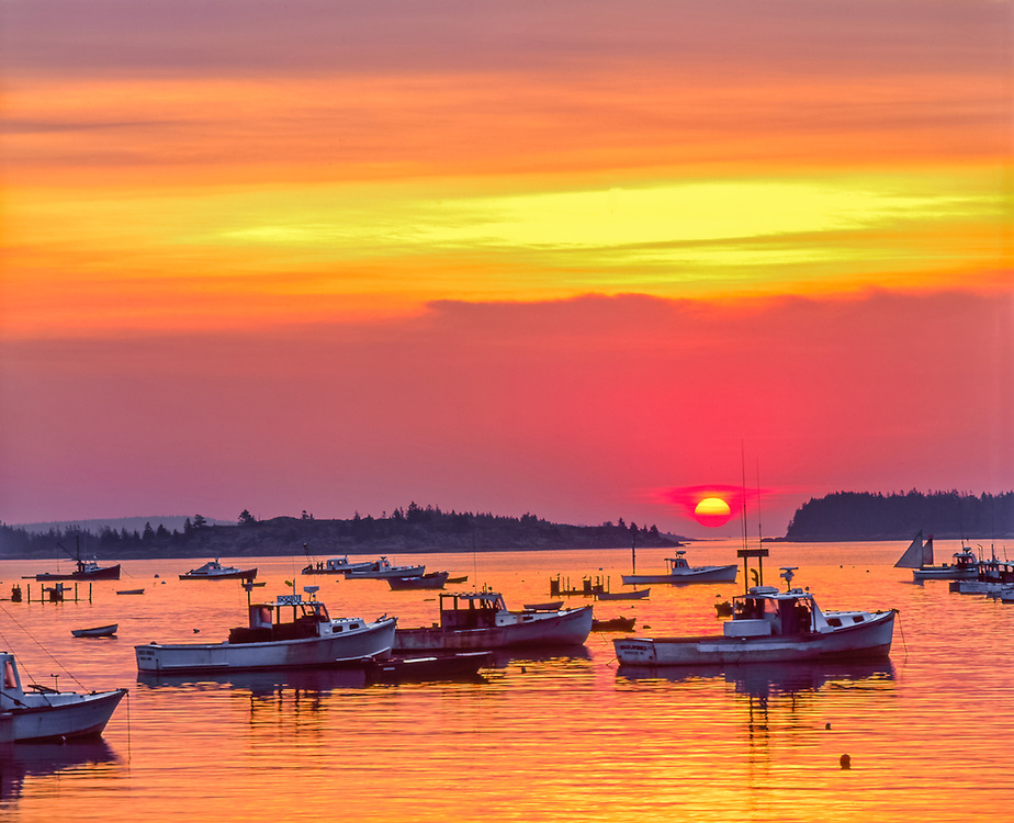 Beautiful sunrise colors in sky over Stonington Harbor, with lobster fishing boats moored, Deer Island, ME