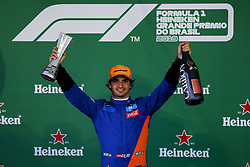 November 17, 2019, Sao Paulo, SP, Brazil: CARLOS SAINZ of the McLaren F1 Team conquest the third position after Lewis has been disqualified during Brazilian Formula 1 Grand Prix at Interlagos racetrack. (Credit Image: © Marcelo Chello/ZUMA Wire)