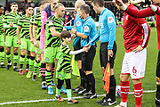 Respect handshake during the EFL Sky Bet League 2 match between Forest Green Rovers and Swindon Town at the New Lawn, Forest Green, United Kingdom on 21 December 2019.