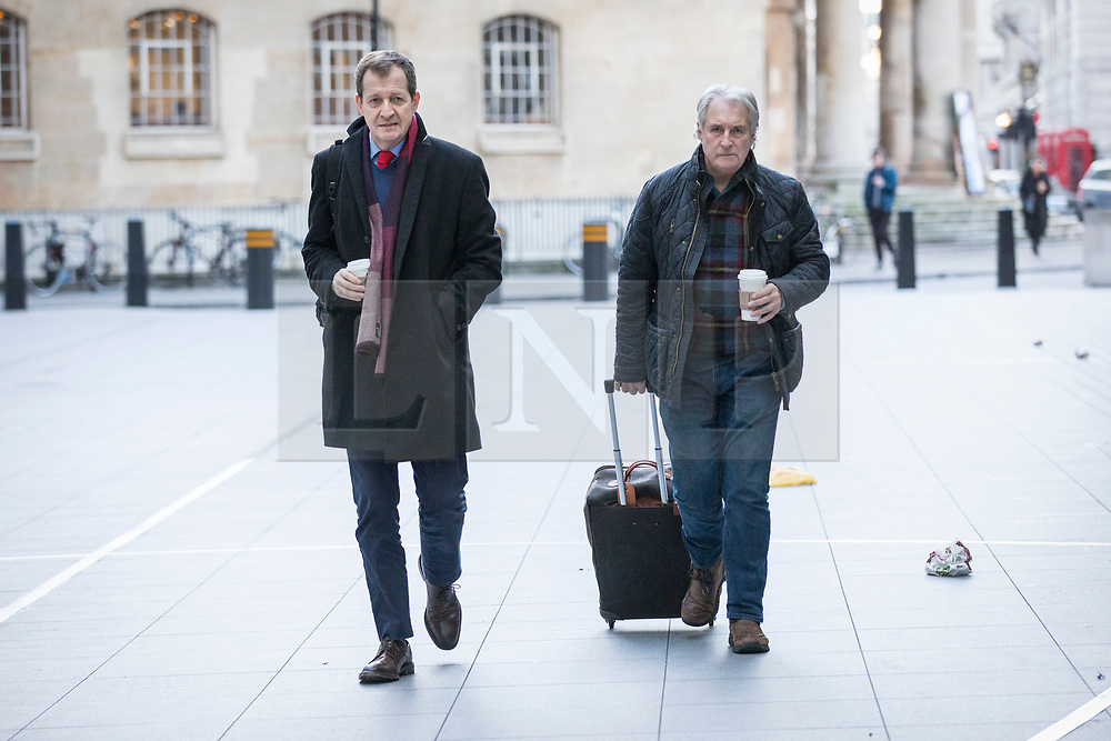 © Licensed to London News Pictures. 11/02/2018. London, UK. Alastair Campbell (L) arrives at BBC Broadcasting House. Photo credit: Rob Pinney/LNP