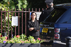 © Licensed to London News Pictures. 22/06/2020. Reading, UK. Home Secretary PRITI PATEL visits Forbury Gardens in Reading town centre where three people were stabbed to death in a terrorist attack. Several other people were injured in the attack which was carried out by Libyan asylum seeker Khairi Saadallah, who is currently in custody. . Photo credit: Ben Cawthra/LNP