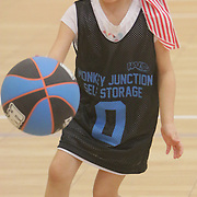Annabelle Crounse dribbles during Halo Basketball Saturday December 20, 2014 at Grace United Methodist Church in Wilmington, N.C. (Jason A. Frizzelle)