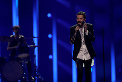 May 7, 2018 - Lisbon, Portugal - Singer Eugent Bushpepa of Albania performs during the Dress Rehearsal of the first Semi-Final of the 2018 Eurovision Song Contest, at the Altice Arena in Lisbon, Portugal on May 7, 2018. (Credit Image: © Pedro Fiuza/NurPhoto via ZUMA Press)