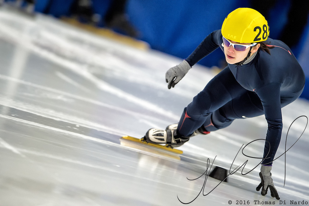 March 20, 2016 - Verona, WI - Danielle Amos, skater number 28 competes in US Speedskating Short Track Age Group Nationals and AmCup Final held at the Verona Ice Arena.