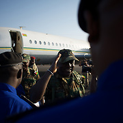 January 17, 2013 - Bamako, Mali: First group of forty five Togolese army men arrive at Bamako International Airport to take part in the international force deployed to Mali to defend the country against the islamists rebel groups advancing from the northern areas of the country. Several insurgent groups have been fighting a campaign against the Malian government for independence or greater autonomy for northern Mali, an area known as Azawad. The National Movement for the Liberation of Azawad (MNLA), an organisation fighting to make Azawad an independent homeland for the Tuareg people, had taken control of the region by April 2012.<br /> <br /> Last week the Malian government pledge France to help the national army stop the rebellion advance towards the capital Bamako. The french troops started aerial attacks on rebel positions in the centre of the country and deployed several hundred special forces men to counter attack the advance on the ground. (Paulo Nunes dos Santos/Polaris)