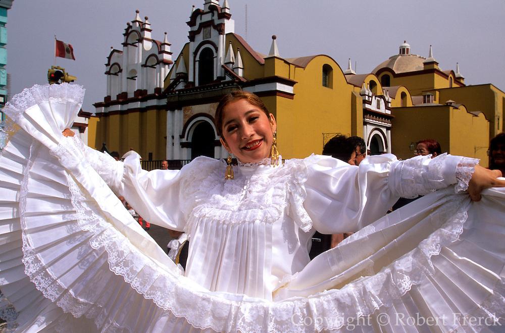 PERU, TRUJILLO, FESTIVALS Tribute to Flag Parade; dancer