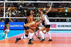 15-10-2018 JPN: World Championship Volleyball Women day 16, Nagoya<br /> Netherlands - USA 3-2 / Celeste Plak #4 of Netherlands, Maret Balkestein-Grothues #6 of Netherlands, Myrthe Schoot #9 of Netherlands