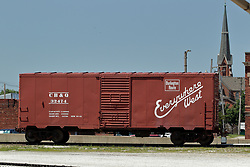 Galesburg - Amtrak Train Depot - box car on dislplay