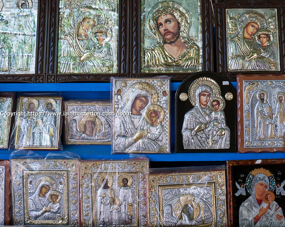 Tourist shops selling icons in in Agiassos town on Lesvos Island in Greece