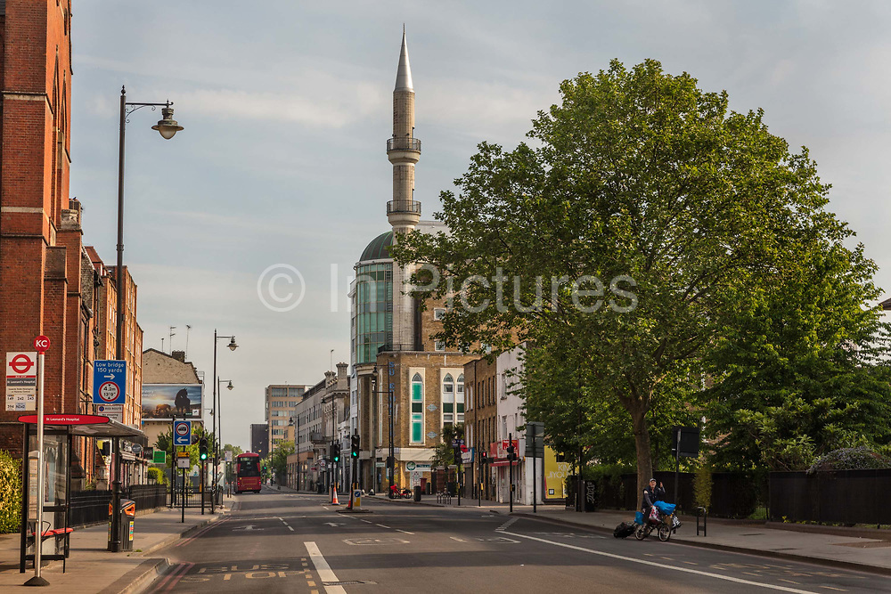 The Suleymaniye Mosque on the deserted Kingsland Road during the coronavirus pandemic on the 10th May 2020 in London, United Kingdom. It is empty under a categorical instruction of the Sunnah and Shariah, from Hadeeth, to quarantine in order to halt the spread of infectious diseases. In these times, it is a fardh!