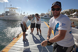 Ben Ainslie sprays the champagne after winning the finals of the Argo Group Gold Cup 2010. Hamilton, Bermuda. 10 October 2010. Photo: Subzero Images/WMRT