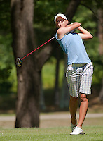 Jenny Gleason drives the ball from the 11th tee Thursday afternoon for the LPGA Futures Tour at Beaver Meadow Golf Course.  (Karen Bobotas/for the Concord Monitor)