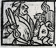 Shearing sheep. Woodcut from 'Calendarum Romanum Magnum',  1518.