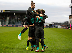 GRÖDIG, AUSTRIA - Tuesday, December 10, 2019: Liverpool's Thomas Hill (hidden) celebrates scoring the second goal with team-mates during the final UEFA Youth League Group E match between FC Salzburg and Liverpool FC at the Untersberg-Arena. (Pic by David Rawcliffe/Propaganda)