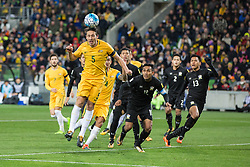 MELBOURNE, Sept. 5, 2017  Mark Milligan (Front) of Australia heads the ball during the FIFA world cup 2018 qualification match between Australia and Thailand at Melbourne Rectangular Stadium in Melbourne, Australia, Sept. 5, 2017. Australia won 2-1. (Credit Image: © Zhu Hongye/Xinhua via ZUMA Wire)