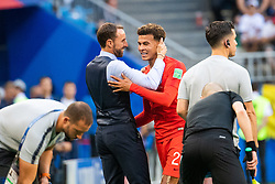 July 7, 2018 - Samara, Russia - 180707 head coach Gareth Southgate celebrates with Dele Alli as he his substituted during the FIFA World Cup quarter final match between Sweden and England on July 7, 2018 in Samara..Photo: Petter Arvidson / BILDBYRÃ…N / kod PA / 92083 (Credit Image: © Petter Arvidson/Bildbyran via ZUMA Press)
