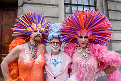 © Licensed to London News Pictures. 08/07/2017. London, UK. Drag queens wear elaborate costumes.  Tens of thousands of visitors, many wearing eye-catching costumes, gather to watch and take part in the annual Pride in London Parade, the largest celebration of the LGBT+ community in the UK.   Photo credit : Stephen Chung/LNP