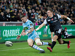 Rory Hughes of Glasgow Warriors under pressure from Hanno Dirksen of Ospreys<br /> <br /> 2nd November, Liberty Stadium , Swansea, Wales ; Guinness pro 14's Ospreys Rugby v Glasgow Warriors ;  <br /> <br /> Credit: Simon King/News Images<br /> <br /> Photographer Simon King/Replay Images<br /> <br /> Guinness PRO14 Round 8 - Ospreys v Glasgow Warriors - Friday 2nd November 2018 - Liberty Stadium - Swansea<br /> <br /> World Copyright © Replay Images . All rights reserved. info@replayimages.co.uk - http://replayimages.co.uk