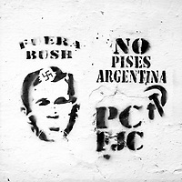 Buenos Aires, Argentina March 2006<br /> Protest, resistance and memory:  The Stencil images in Buenos Aires. <br /> The stencil art takes the streets of the Argentinian capital. Urban artists bomb in silence the city with messages that combine political and social content, imagination and irony.<br /> Photo: Ezequiel Scagnetti