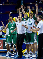 Jurica Golemac (14) of Slovenia, Head coach of Slovenia Jure Zdovc Matjaz Smodis (8) of Slovenia and Assistant coach of Slovenia Tomo Mahoric during the EuroBasket 2009 Semi-final match between Slovenia and Serbia, on September 19, 2009, in Arena Spodek, Katowice, Poland. Serbia won after overtime 96:92.  (Photo by Vid Ponikvar / Sportida)