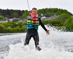 Scottish Lib Dem leader Willie Rennie tried his hand at water skiing during his party's European election campaign.<br /> <br /> © Dave Johnston / EEm