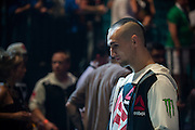 Rory MacDonald waits backstage before the UFC weigh-in at the MGM Grand Arena in Las Vegas on July 10, 2015. (Cooper Neill)