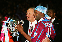 Dalian Atkinson and Villa Manager, Ron Atkinson with the trophy. Aston Vila v Manchester United Coca Cola League Cup Final 1994 @ Wembley. 27/03/94 Credit : Colorsport / Andrew Cowie