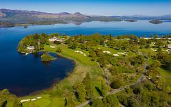 Aerial view of Loch Lomond Golf Club on shores of Loch Lomond, Argyll and Bute, Scotland, UK