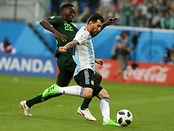 June 26, 2018 - St. Petersburg, Russia - June 26, 2018, Russia, St. Petersburg, FIFA World Cup 2018, First round, Group D, Third round. Football match of Nigeria - Argentina at the stadium of St. Petersburg. Player of the national team Lionel Messi (Credit Image: © Russian Look via ZUMA Wire)