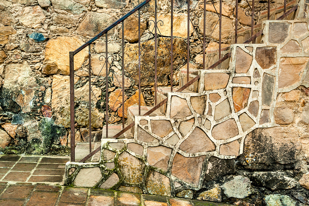 """""""Stairs and Wall"""" - These old stone stairs and wall were photographed in the small mountain town of San Sebastian, Mexico."""