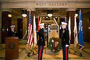 The University of Wisconsin - Madison Navy and Marine ROTC is seen at their fall commissioning at the Capitol in Madison, Wisconsin on December 16, 2012..