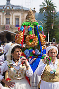 Spanish women taking part in procession at traditional fiesta at Villaviciosa in Asturias, Northern Spain