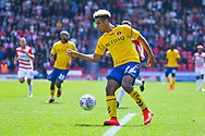 Lyle Taylor of Charlton Athletic (9) in action during the EFL Sky Bet League 1 play off first leg match between Doncaster Rovers and Charlton Athletic at the Keepmoat Stadium, Doncaster, England on 12 May 2019.