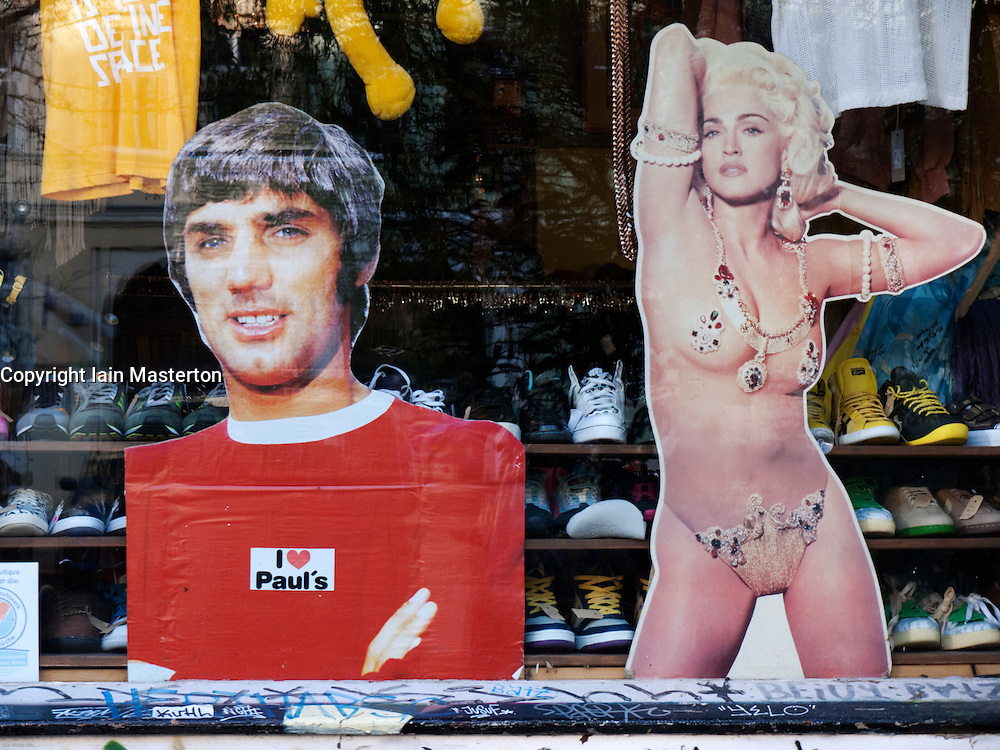 Detail of window display of trendy fashion boutique in bohemian district of Prenzlauer Berg in Berlin Germany