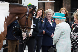 © Licensed to London News Pictures . 29/05/2015 . Lancaster , UK . HRH Queen Elizabeth II , the Duke of Lancaster , visits Lodge Livery Farm in Lancaster for a demonstration of horse shoeing and sheep shearing . Photo credit : Joel Goodman/LNP