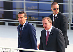 BRATISLAVA, Sept. 17, 2016 (Xinhua) -- Austrian Chancellor Christian Kern (L) and Swedish Prime Minister Stefan Loefven (R) arrive at a wharf by the Danube river on the sidelines of an informal European Union (EU) summit in Bratislava, Slovakia, Sept. 16, 2016. EU members on Friday issued a joint declaration, formulating a road map for the bloc to tackle challenges, said Slovak Prime Minister Robert Fico. (Xinhua/Gong Bing) (wtc) (Credit Image: © Gong Bing/Xinhua via ZUMA Wire)