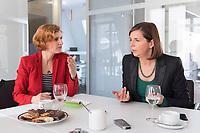 15 OCT 2019, BERLIN/GERMANY:<br /> Katja Kipping (L), Die Linke, Prteivorsitzende, und Katrin Goering-Eckardt (R), B90/Gruene, Fraktionsvorsitzende, wahrend einem Doppeninterview, Hauptstadtredaktion Rheinsche Post<br /> IMAGE: 20191015-01-006<br /> KEYWORDS: Göring-Eckardt