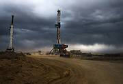 An oil and gas drilling operation outside of Wamsutter, Wyo., on April 12, 2018 (NOTE: this is not a BP operation). BP, which has over 2,000 wells in the area, is investing heavily in technology that reduces the number of workers needed in the field. <br />CREDIT: Nick Cote for The Wall Street Journal<br />OILJOBS_WY
