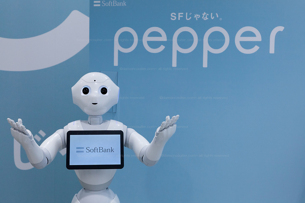 Softbank's emotional consumer Robot, Pepper on display at the Softbank Store Omotesando, Tokyo, Japan. Friday June 13th 2014. At the end of June 2021 the Softbank company announced it was cutting jobs in its global robotics business and had stopped production of the Pepper robot.