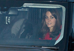 © Licensed to London News Pictures. 16/12/2015. London, UK. Catherine Duchess of Cambridge leaving Buckingham Palace with what appears to be a side facing a child's car seat being her, following a Christmas lunch with the queen and other members of the royal family. Photo credit: Ben Cawthra/LNP